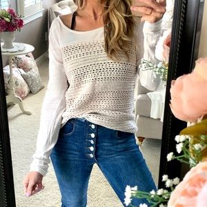 LUCKY BRAND | Oatmeal Knit Long Sleeve Sweater Top